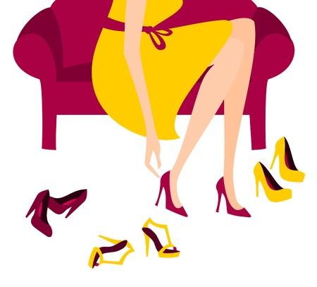 tienda de zapatos: Ilustración de una mujer que trata de elegantes zapatos de tacón alto.