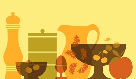 Nature morte avec des plats et des fruits. Banque d'images - 13361193