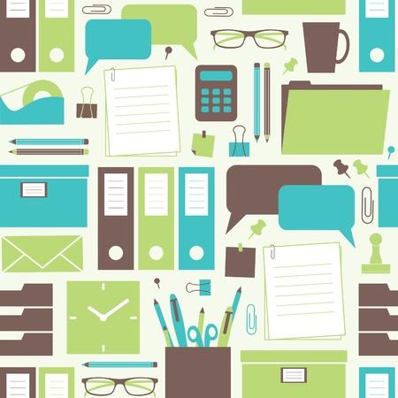 articulos oficina: Patrón sin fisuras con los elementos de oficina relacionados. Vectores