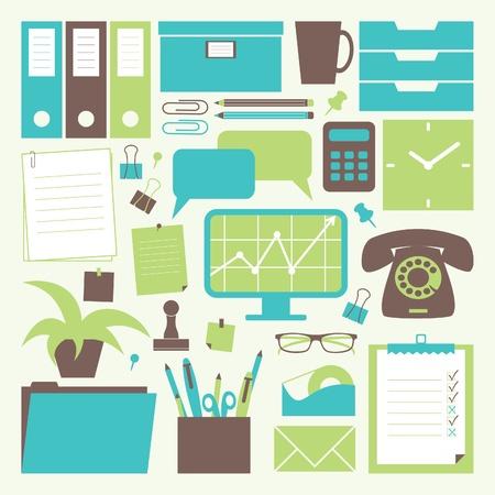 офис: Коллекция офисной связанных объектов. Иллюстрация