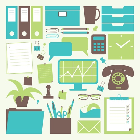 green office: A collection of office related objects. Illustration