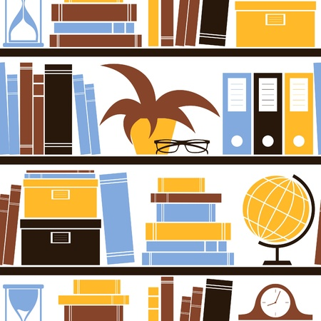 Seamless pattern with different objects placed on a bookshelf   Vector