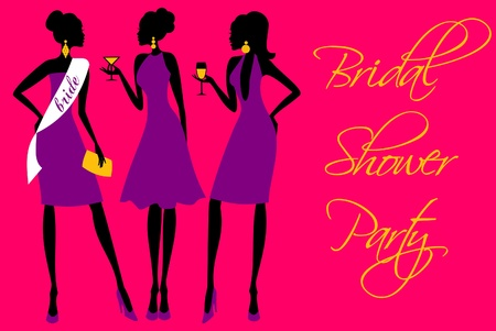bachelorette: Invitation for a bridal shower party in bright colors  Illustration