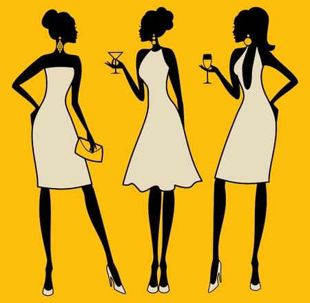 despedida de soltera: Ilustración de tres mujeres jóvenes elegantes en un cóctel Vectores
