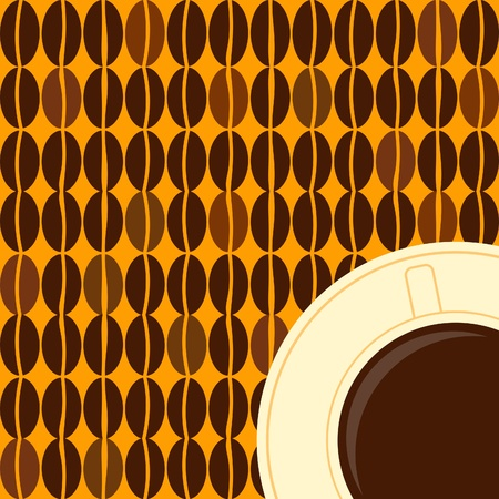 Illustration of a coffee cup and coffee beans in retro style  Vector