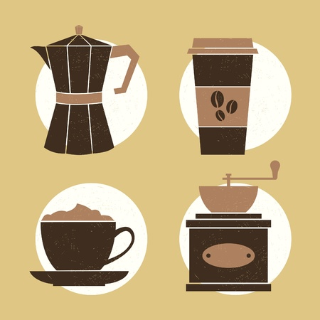 coffee pot: A set of four icons with coffee related items