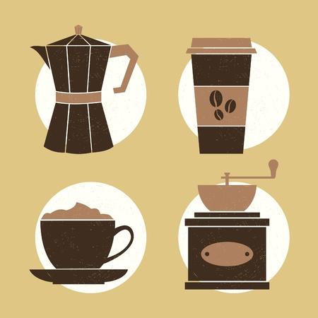 Ein Satz von vier Symbole mit Kaffee zugehörige Artikel