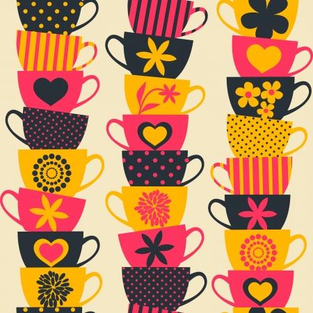 tazza di th�: Seamless pattern con pile di bicchieri colorati impilati