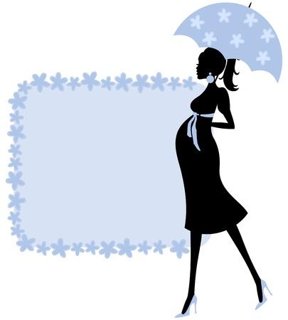 Ilustración de una mujer joven embarazada y un marco bonito de flores en azul perfecto para la invitación de la ducha del bebé
