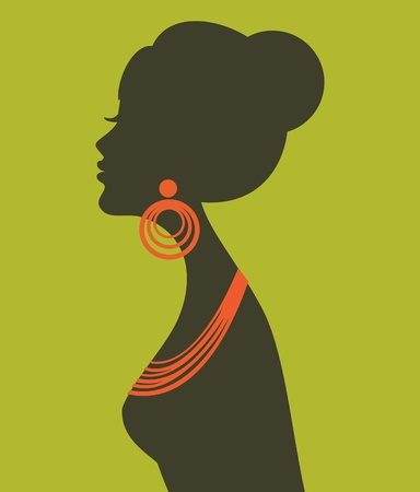 Illustration of a young elegant woman wearing orange jewels  Vector