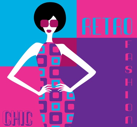 afro hairdo: Illustration of a fashion model posing in an elegant retro dress   n Illustration