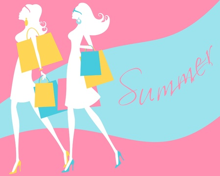 illustration of two young fashionable women shopping