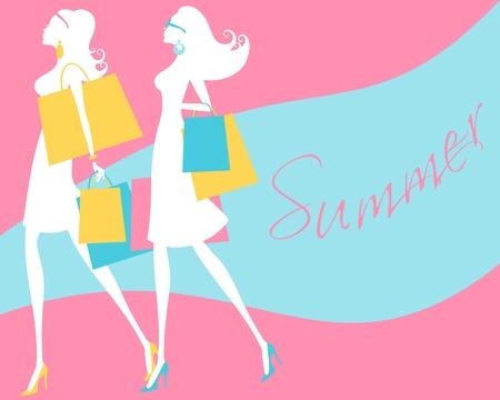shopper: Illustration von zwei jungen Frauen in Mode Shopping Illustration