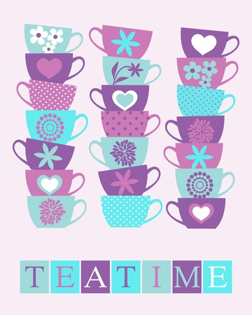 Illustration of cute tea cups stacked in piles  Vector