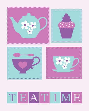 Illustration of cute teacups, teapot and a cupcake  Vector