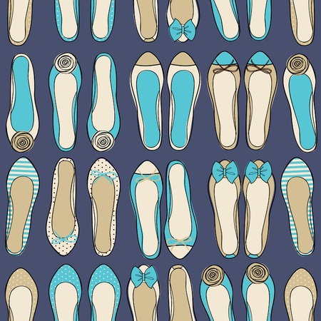 ballerina shoes: Seamless fashion pattern with cute ballerina shoes in baige and blue. Illustration