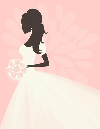 Illustration d'une belle mariée avec des fleurs. EPS 10 fichier. Banque d'images - 13443458