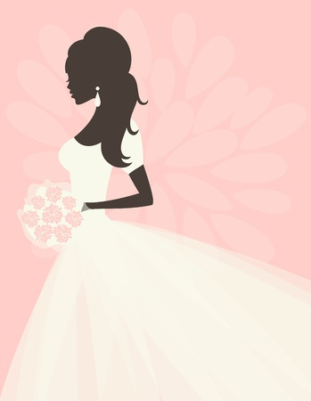woman side view: Illustration of a beautiful bride holding flowers. EPS 10 file. Illustration
