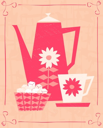Illustration of a coffee pot, a cup and a bowl of sugar cubes in retro style.