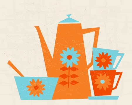 natura morta con fiori: Illustrazione di una caffettiera, due tazze e una ciotola in stile retr�.