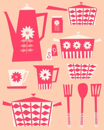 dishware: A set of kitchen utensils and dishware in retro style.