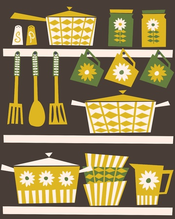 Illustration of shelves with kitchen utensils and dishware in retro style. Vector