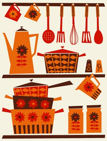 midcentury: Illustration of shelves with kitchen utensils and dishware in retro style.