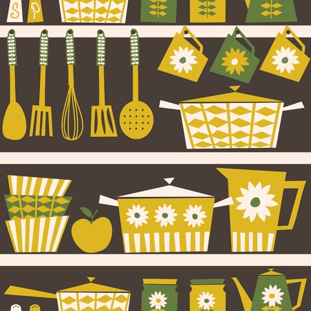Seamless pattern with kitchen utensils and dishware in retro style. Vector
