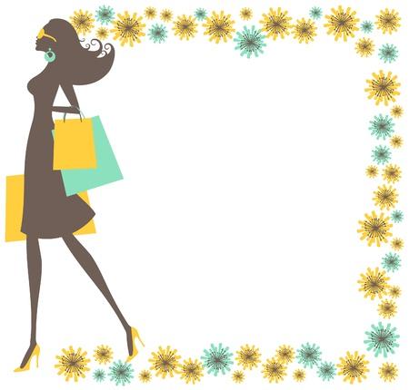 아름다운 꽃 프레임으로 둘러싸인 젊은 유행 여자 쇼핑 가방을 들고 그림.