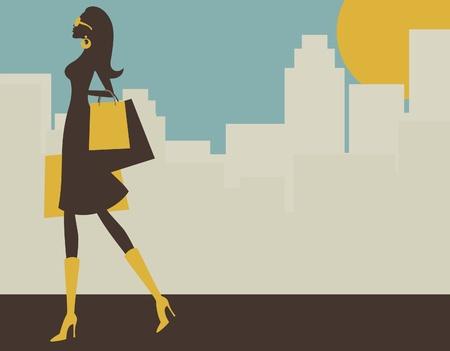 shopper: Illustration eines jungen elegante Frau beim Einkaufen in der gro�en Stadt.