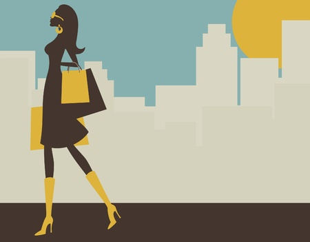 Illustration of a young elegant woman shopping in the big city.