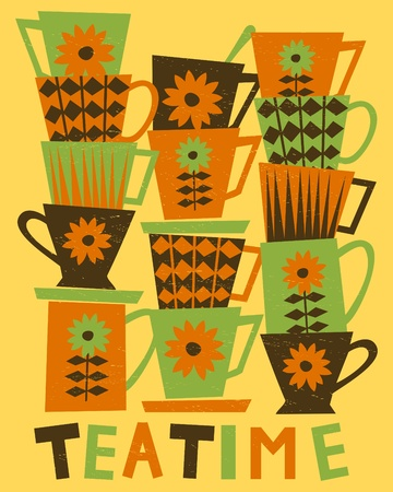 Illustration of cute tea cups stacked in piles.  Vector