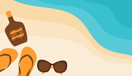 suntan lotion: Illustration of sunglasses, flip-flops and a bottle of suntan lotion on the beach. Illustration