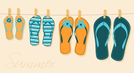 slippers: Illustration of four pairs of flip-flops. Family summer vacation concept.