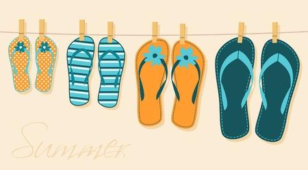 sandalia: Ilustraci�n de cuatro pares de flip-flops. Verano, vacaciones en familia en concepto.