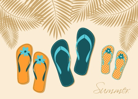 Illustration of three pairs of flip-flops on the beach. Family summer vacation concept. Vector