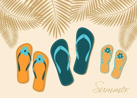 sandal tree: Ilustraci�n de tres pares de flip-flops en la playa. Verano, vacaciones en familia en concepto. Vectores