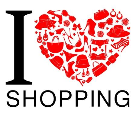 shoppen: I love shopping-Symbol. Das Herz wird aus verschiedenen weiblichen Modeartikel gemacht.
