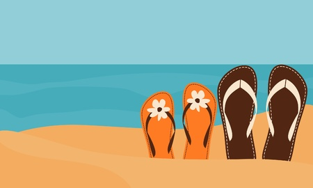 resorts: Illustration of two pairs of flip-flops on the beach with the sea in the background.