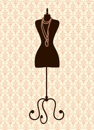 Illustration of a black tailor's mannequin against damask background.