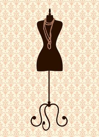 boutique display: Illustration of a black tailors mannequin against damask background.