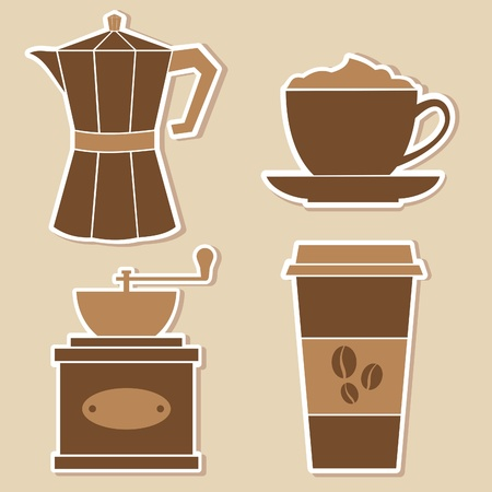 A set of four coffe stickers. Vector