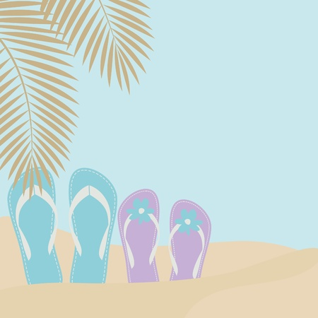Illustration of two pairs of flip-flops on the beach with palm tree leaves in the background. Vector