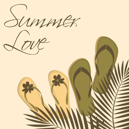 Illustration of two pairs of flip-flops on the beach with palm tree leaves above them. Vector