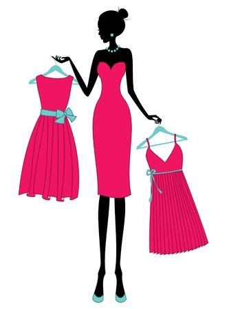 kledingwinkel: Illustratie van een jonge elegante vrouw winkelen voor een jurk. Stock Illustratie