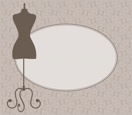 Illustration of a tailor's mannequin and an oval frame against damask background. Place for your text.