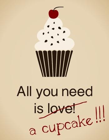 cupcake: Tout ce que vous avez besoin est une carte petit g�teau dans un style vintage.