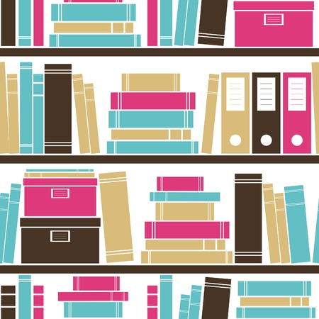 library book: Seamless pattern with books placed on a bookshelf.