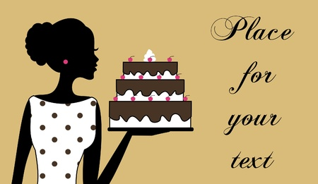 Illustration of a woman holding a cake. Business cardrecipe card template. Vector