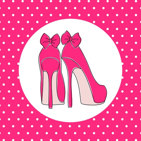 girls with bows: Illustration of pink high heels against pink polka dot background.